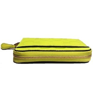 Coach Bags - COACH Zip Around Leather Wallet Neon Yellow Small